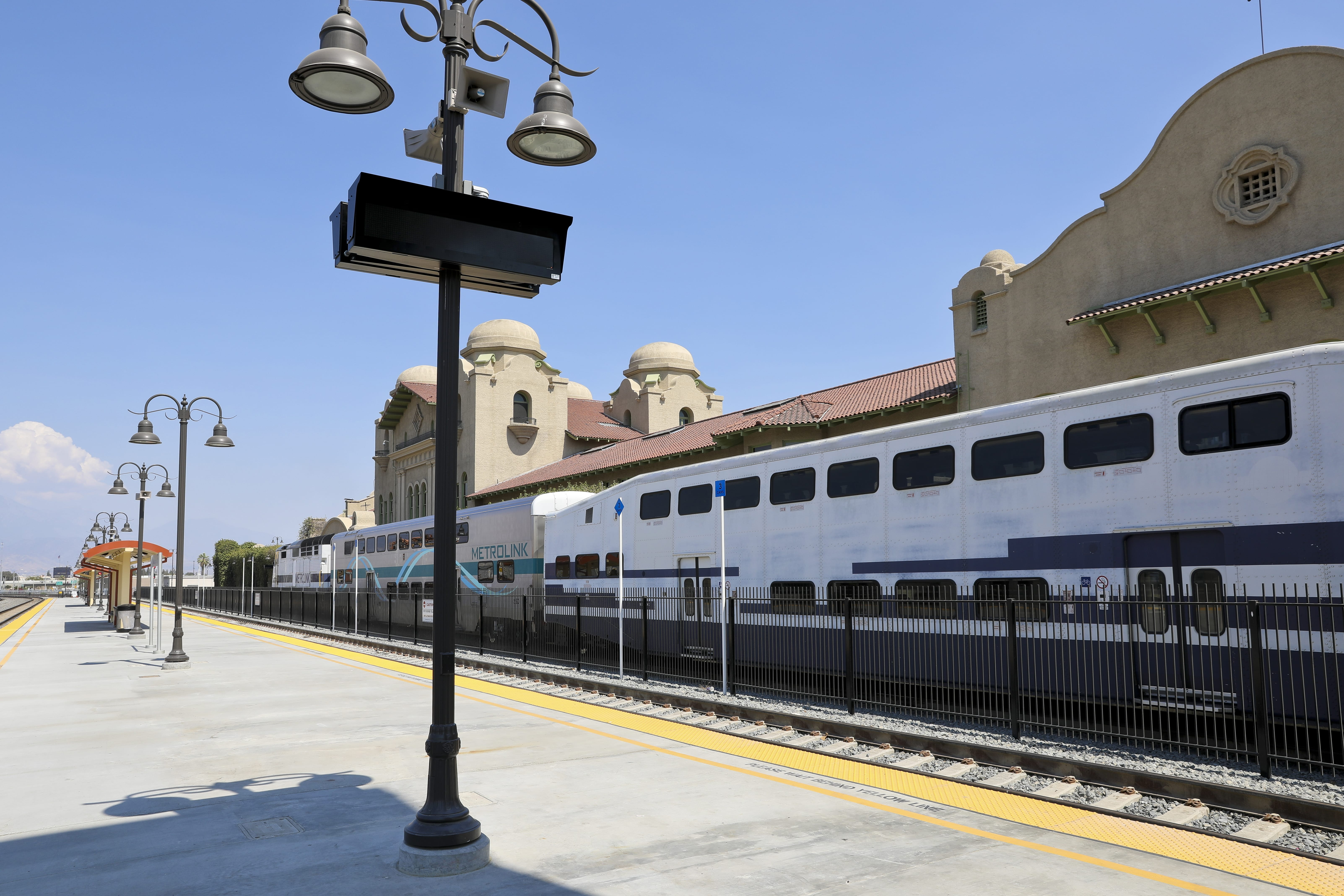 Train Departing Santa Fe Station in San Bernardino County